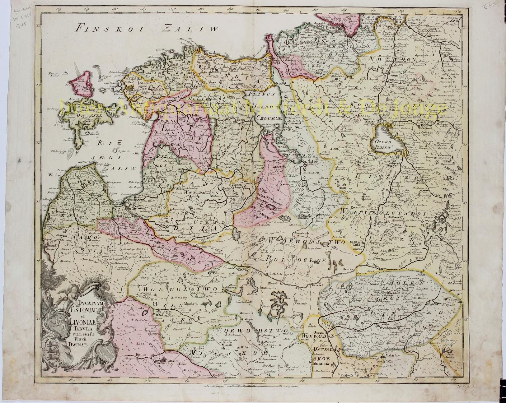 DE L'ISLE,  JOSEPH-NICOLAS (1688 - 1768) - Baltics, Estonia, Lithuania - Joseph-Nicolas De l'Isle, 1745
