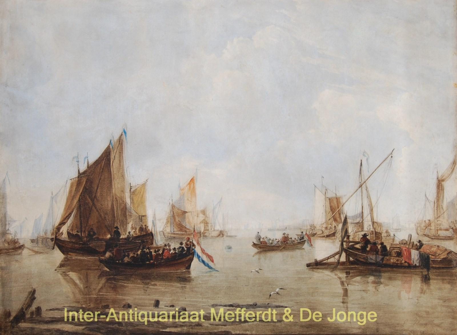 CAPELLE,  NAAR JAN VAN DE - Historiserend riviergezicht naar Jan van de Capelle