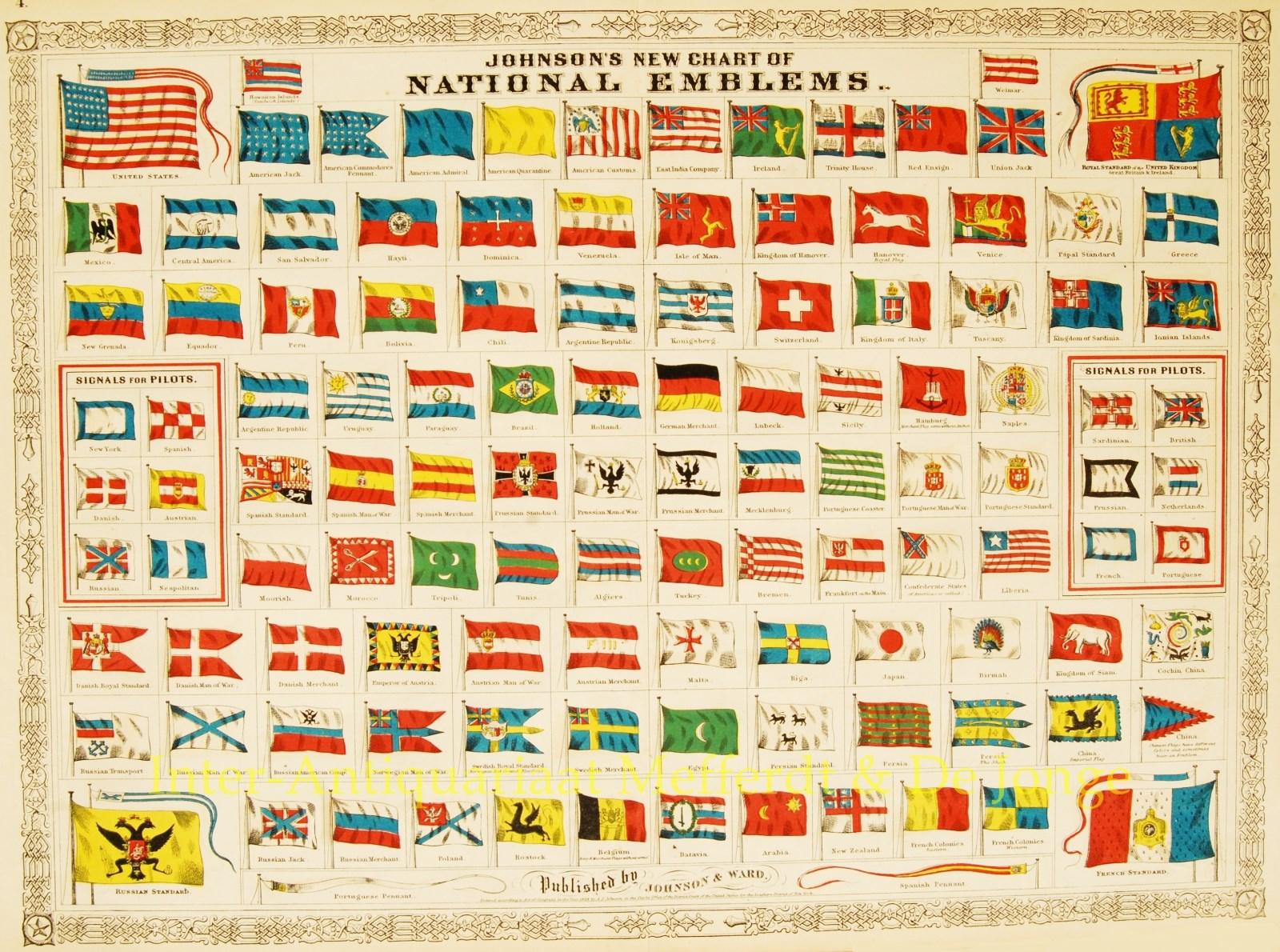 JOHNSON,  ALVIN JEWETT - Vlaggenkaart, 1868