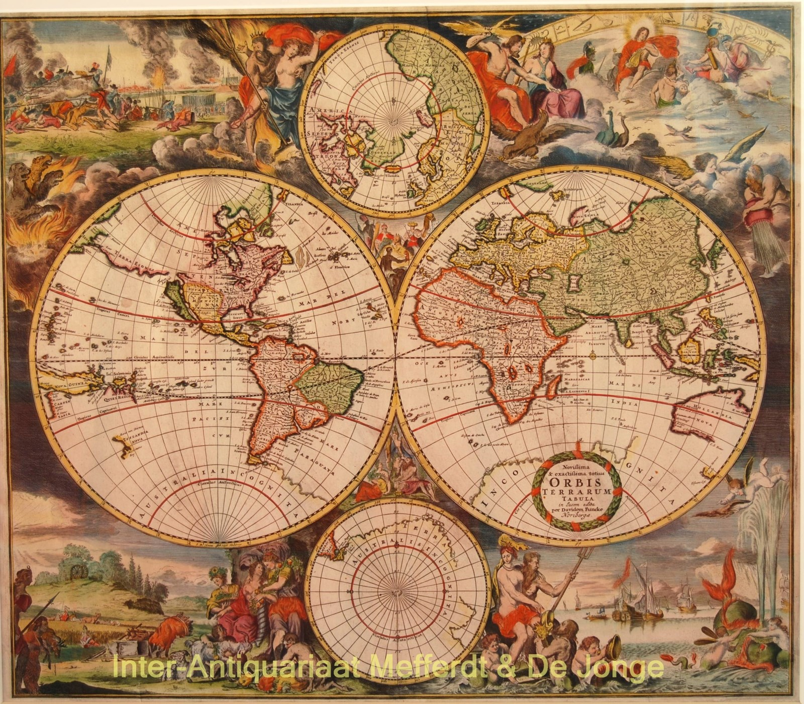 FUNCKE,  DAVID - World map - Romein de Hooghe, David Funcke, c. 1700