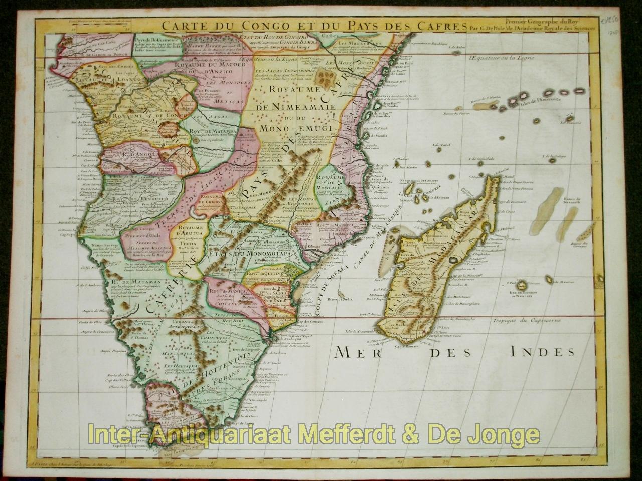 ISLE,  GUILLAUME DE L' - Zuidelijk Afrika - Carte du Congo et du Pays des Cafres